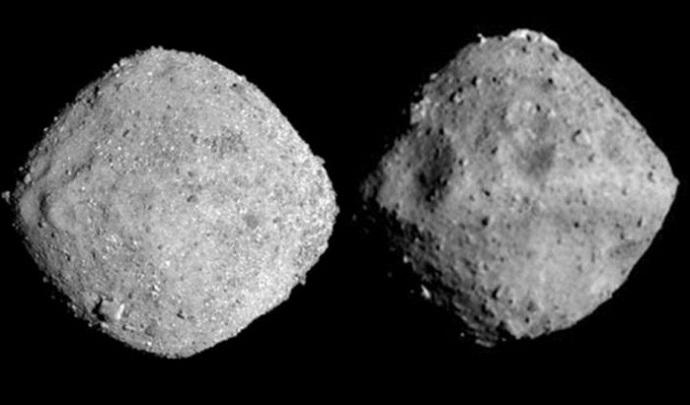 لاحظوا الفرق: بينو (إلى اليسار) وريوجو (إلى اليمين). الصور: NASA و JAXA