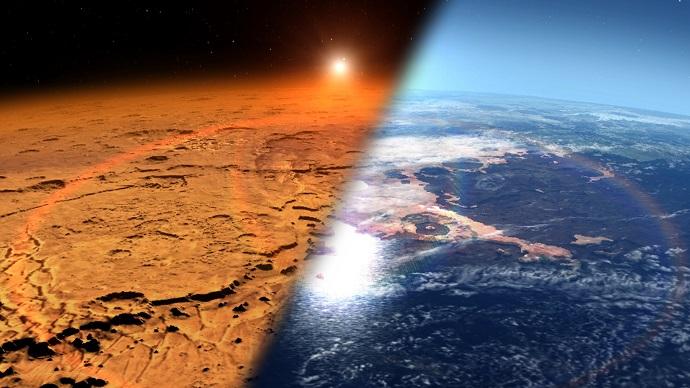 """הדמיית אומן של מאדים לפני ואחרי שאיבד את רוב האטמוספרה שלו לחלל. לא נעים בכלל. קרדיט: נאס""""א"""