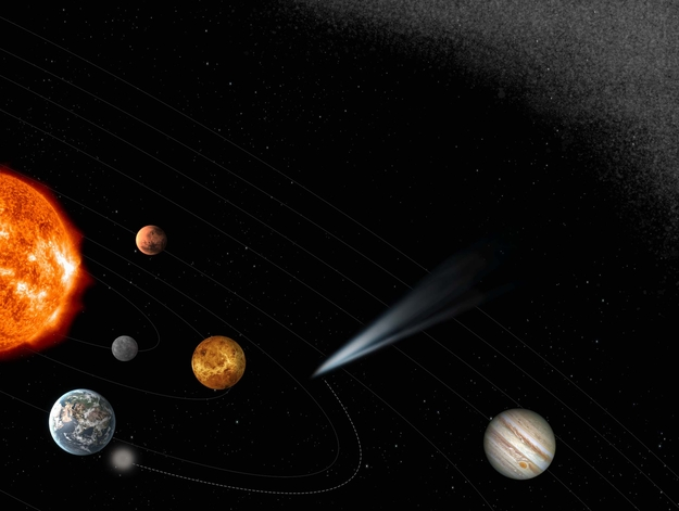 הדמיית אמן של כוכב שביט חודר למערכת השמש הפנימית ומיורט על ידי מיירט השביטים. קרדיט: ESA