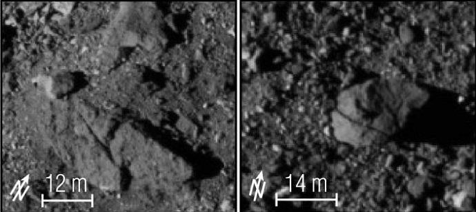 صور مقربة لسطح بينو الصخري. اضطر طاقم اوسايريس ركس إلى إعادة رسم مسار المركبة. تقدمة: NASA/GSFC/UNIVERSITY OF ARIZONA