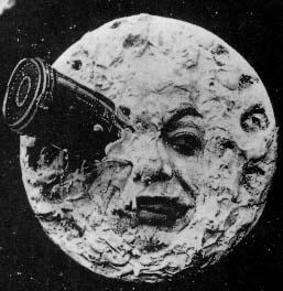 פרצוף ירח עם טלסקופ