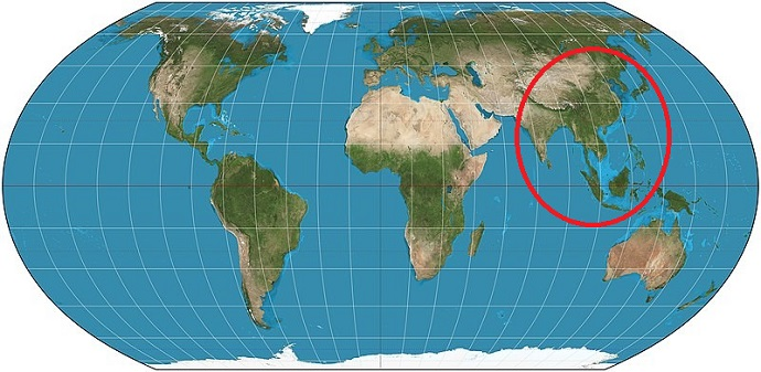 מפת העולם. בשטח העיגול האדום (סין, הודו, אינדונזיה ויפן) חיים יותר אנשים מאשר מחוץ לעיגול. קרדיט: Strebe