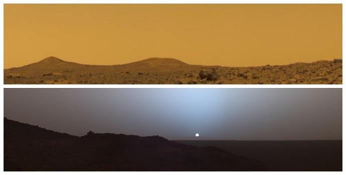 למעלה: מאדים באמצע היום. למטה: מאדים בשקיעה. קרדיט: NASA/JPL-Caltech