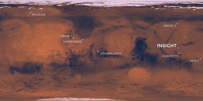 """אתר הנחיתה של אינסייט, על מישור רחב-ידיים הנקרא מישור האליסיום, ביחס לשאר משימות נאס""""א בעבר ובהווה. קרדיט: NASA"""
