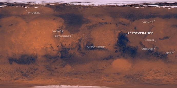 """מפת כל אתרי הנחיתה של הנחתות והרוברים של נאס""""א על מאדים עד היום, עם הפרסרוורנס בהדגשה. קרדיט: NASA/JPL-Caltech"""