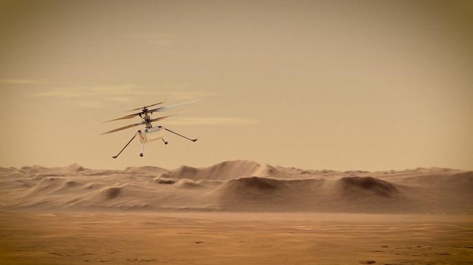 הדמיה של המסוק אינג'יניואיטי בפעולה. קרדיט: NASA/JPL-Caltech