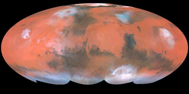 """שטחו של מאדים כמעט זהה לשטחו של כדוה""""א. קרדיט: Steve Lee; Jim Bell; Mike Wolf; NASA"""