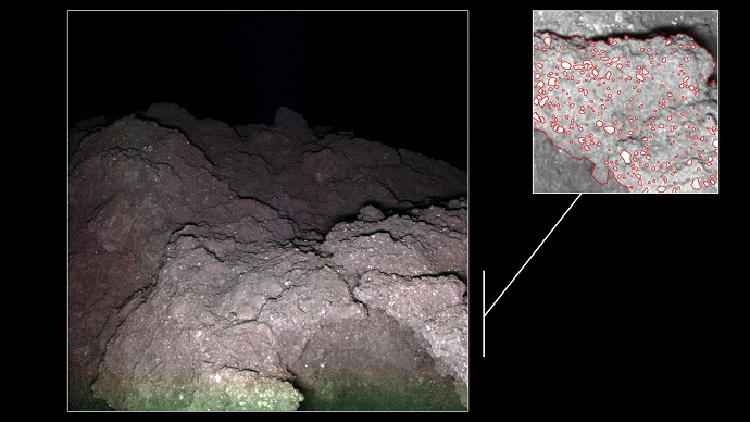 סלע דמוי כרובית על פני השטח של ריוגו. משמאל – החללים בתוך הסלע