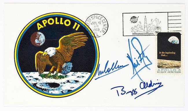 מעטפת ביטוח של אפולו 11, חתומה ומתוארכת ל-16 ביולי 1969. קרדיט: Collectors Weekly