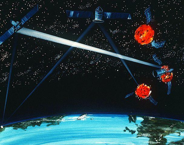 אלוסטרציה של חיל האוויר האמריקאי מ- 1984, המדגימה קונפליקט בין לוויינים בחלל