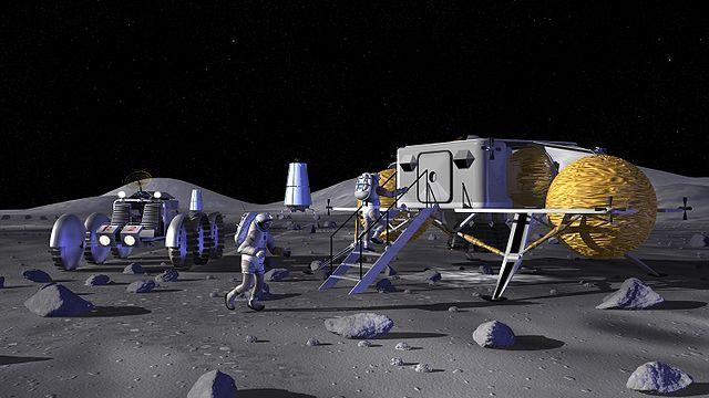 הדמיית אמן של בסיס ירחי. קרדיט: NASA