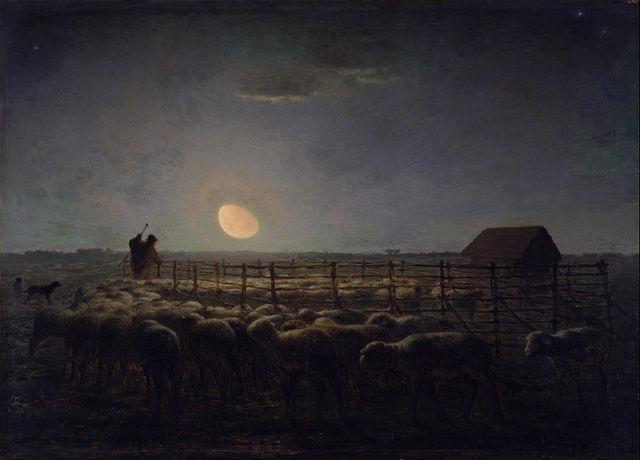 הירח באופק | ציור מאת ז'אן-פרנסואה מילה (1814 - 1875)