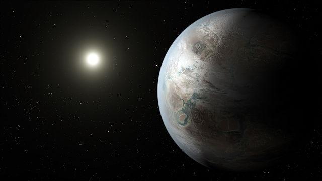 הדמיית אמן של קפלר-b452, הנמצא במרחק 1,400 שנות אור מאיתנו. קרדיט: NASA Ames/JPL-Caltech/T. Pyle