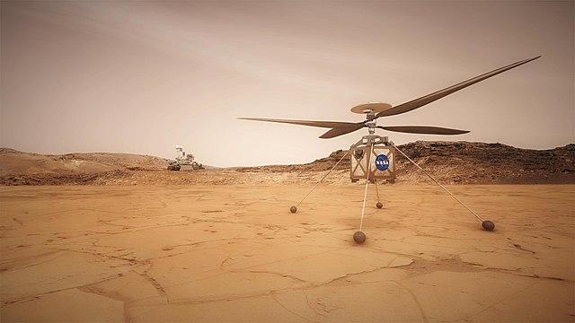הדמיה של הרובר מארס 2020 – והמסוק שילווה אותו – על אדמת מאדים. קרדיט: NASA/JPL-Caltech