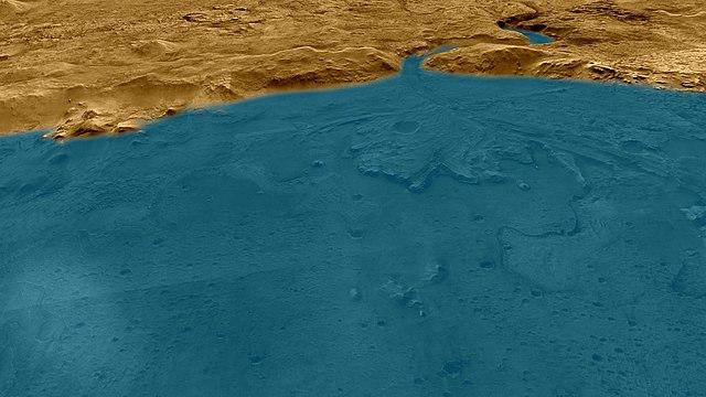 הדמיה של מכתש ג'זרו בימים יפים ורטובים יותר. קרדיט: NASA/JPL-Caltech/University of Arizona