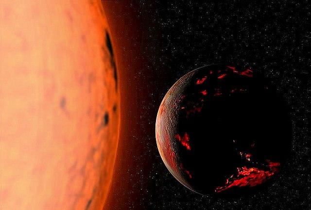הדמיית אמן של כדור הארץ (משמאל) ממש נוגע בשולי השמש, כשזו תיכנס לשלב הענק האדום שלה בעוד כ-5 מיליארד שנה. קרדיט: Fsgregs