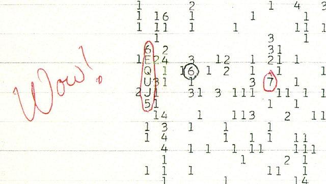 """ב-1977 קלט אסטרונום ממכון SETI אות רדיו חזק פי 30 מרעשי הרקע של היקום – וכתב: """"וואו!"""". אך האות לא חזר על עצמו ואין לדעת מה מקורו"""