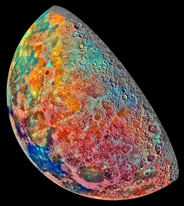 מפת תצריף מינרלית של הירח, כפי שצולם על ידי החללית גלילאו. קרדיט: NASA/JPL