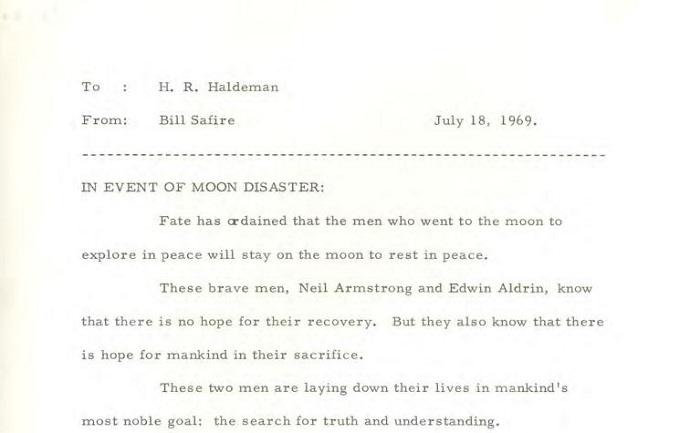 קטע מתוך נאומו של ניקסון, שהוכן למקרה שארמסטרונג ואולדרין נתקעים על הירח. קרדיט: Nixon Presidential Library
