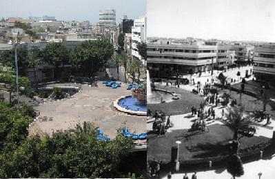 כיכר דיזנגוף בשתי תקופות שונות- שנות ה-40 והאלפיים | צילום: Rubinstein Felix