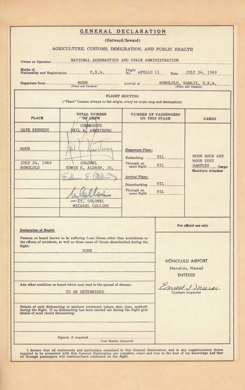 הצהרת המכס של אפולו 11, 24 ביולי 1969. זה אמיתי לגמרי. קרדיט: NASA/U.S. Customs and Border Patrol
