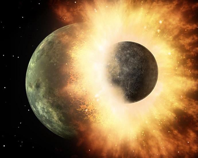 הדמיית אומן של שני כוכבי לכת קטנים מתנגשים. קרדיט: NASA/JPL-Caltech