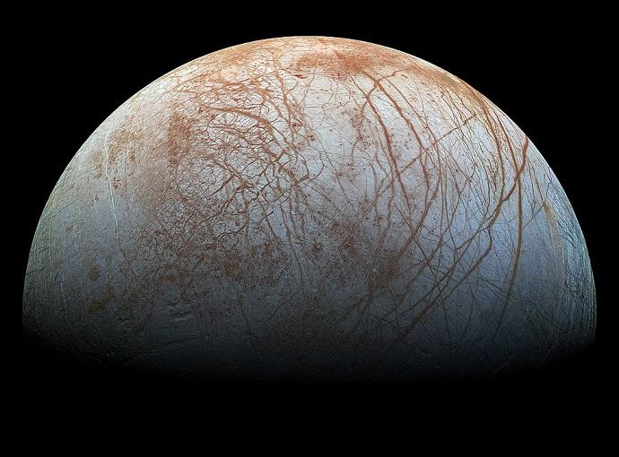 תמונת תצריף של ירח הקרח אירופה. את התמונות השונות צילמה הגשושית גלילאו. קרדיט: NASA / Jet Propulsion Lab-Caltech / SETI Institute