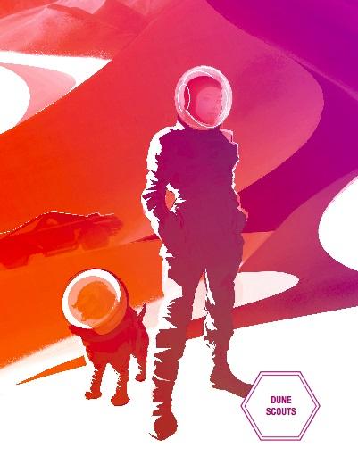 """אסטרונאוטית וכלבה הנאמן בפוסטר של נאס""""א"""