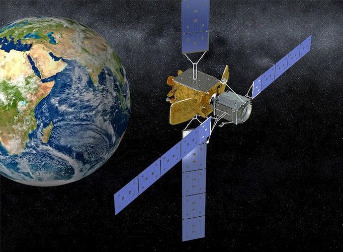 הדמיה של ה-MEV מתדלק לוויין אחר במסלול. קרדיט: Northrop Grumman