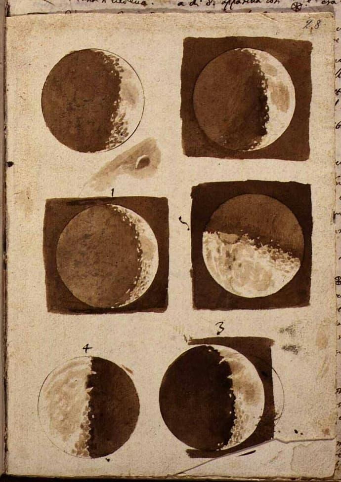 רישומיו של גלילאו גליליי, לאחר שכיוון טלסקופ לירח לראשונה, גילה כתמי צל והסיק שפני השטח אינם חלקים. קרדיט: Nuncius Sidereus