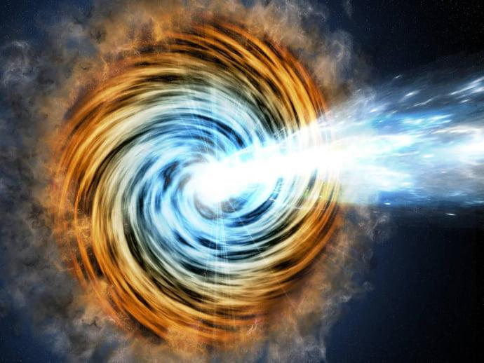 הדמיית אמן של בלאזר. הבלאזרים משמשים מדענים כמגדלורים באפלת היקום. קרדיט: JPL