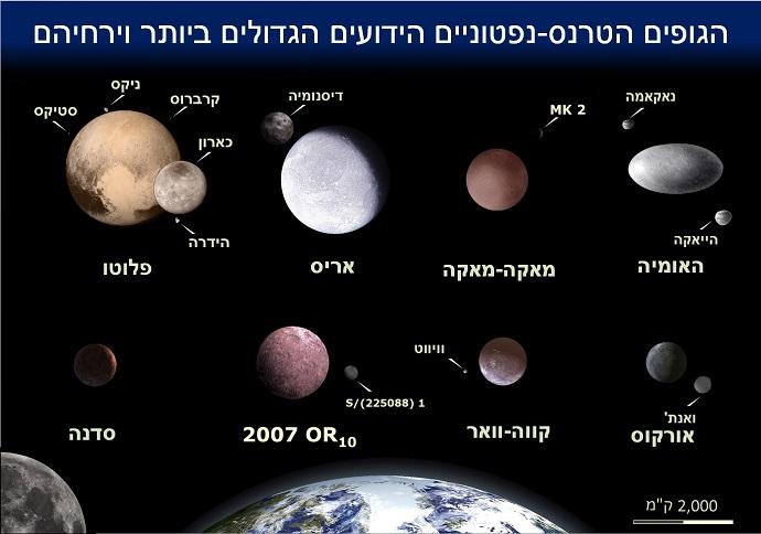 עצמים בחגורת קויפר בהשוואה לגודלו של כדור הארץ. קרדיט: Agbad