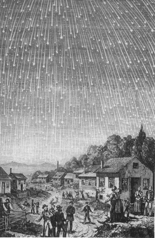 האיור המפורסם ביותר למטר הלאונידים המרשים של 1833 | צייר: אדולף וולמי ב- 1888.