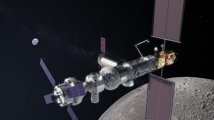 """השלב הראשון בתוכנית החדשה של נאס""""א: להשתמש בתחנת החלל הירחית, שטרם נבנתה כמובן, כפלטפורמה לנחיתות על הירח עד 2024. הדמיה: נאס""""א"""