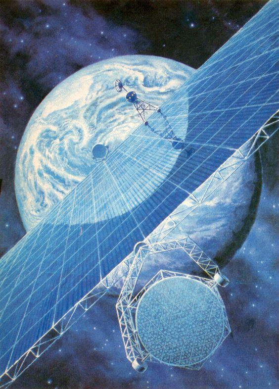 חזון לתחנת כוח סולארית חללית שצייר הקוסמונאוט אלכסיי לאונוב והצייר אנדריי סוקולוב | Fine Art Moscow