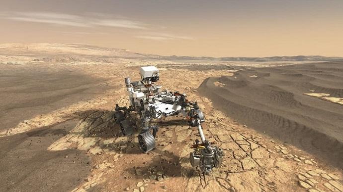 הדמיה של הרובר פרסרוורנס על אדמת מאדים. קרדיט: NASA