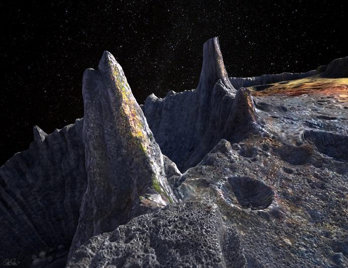 הדמיית אמן של האסטרואיד המתכתי פסיכה. קרדיט: ASU/Peter Rubin