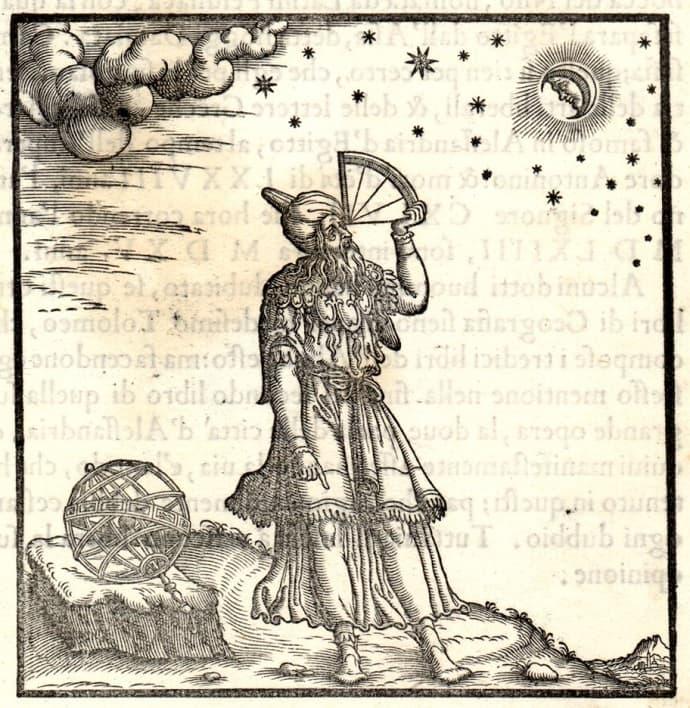 תלמי משתמש בקוואדרנט (תחריט עץ, 1564)