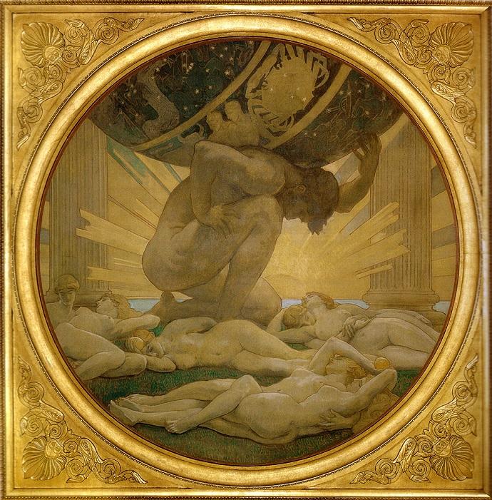 אטלס נושא את כדור הארץ על שכמו. אילו היה יודע כמה הוא שווה, אולי לא היה טורח | צייר: ג'ון סינגר סרג'נט (1922)