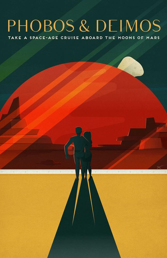 פוסטר המפרסם את פובוס ודימוס כחלק מתיירות בדיונית במאדים