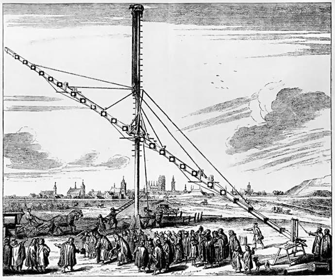 טלסקופ אסטרונומי באורך 45 מטרים, שבנה יוהנס הווליוס (הדפס עץ, 1673)