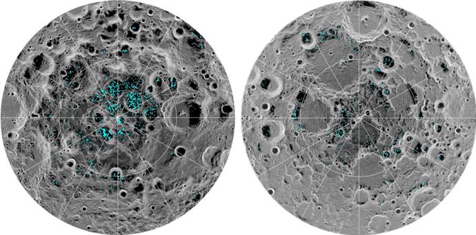 מפה המראה את מאגרי המים במכתשים המוצלים בקוטב הדרומי (משמאל) והצפוני (מימין) של הירח.
