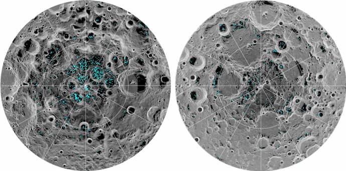 """כיסי קרח במכתשים מוצללים תמיד בקוטב הדרומי (שמאל) והצפוני (ימין) של הירח, כפי שמופו על ידי LRO. קרדיט: נאס""""א"""