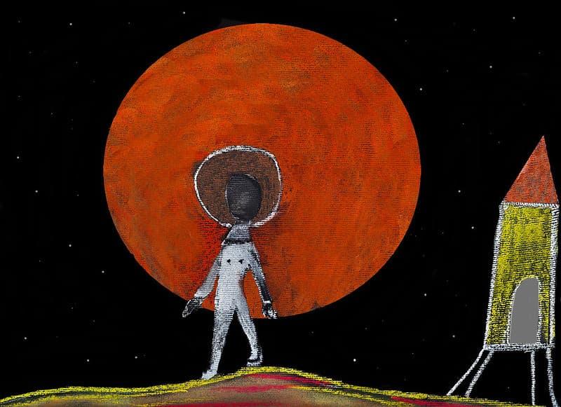 ציור אסטרונאוט במאדים