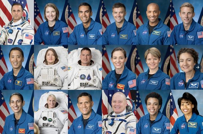 """18 האסטרונאוטים שנבחרו לתוכנית ארטמיס. אסטרונאוטית אחת ואסטרונאוט אחד מכאן יהיו הראשונים לנחות על הירח מאז 1972 – אולי כבר ב-2024. קרדיט: נאס""""א"""