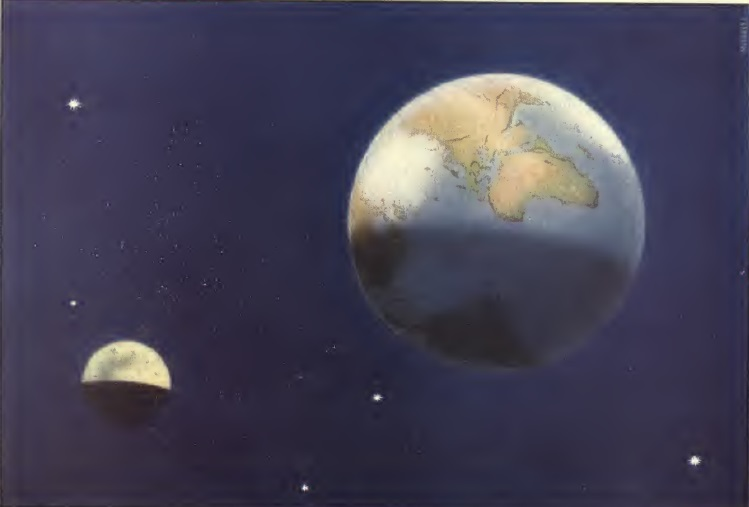 כדור הארץ והירח, שני עולמות שהיו פעם אחד | איור (1917): Mitton, G.E מתוך The Book of Stars