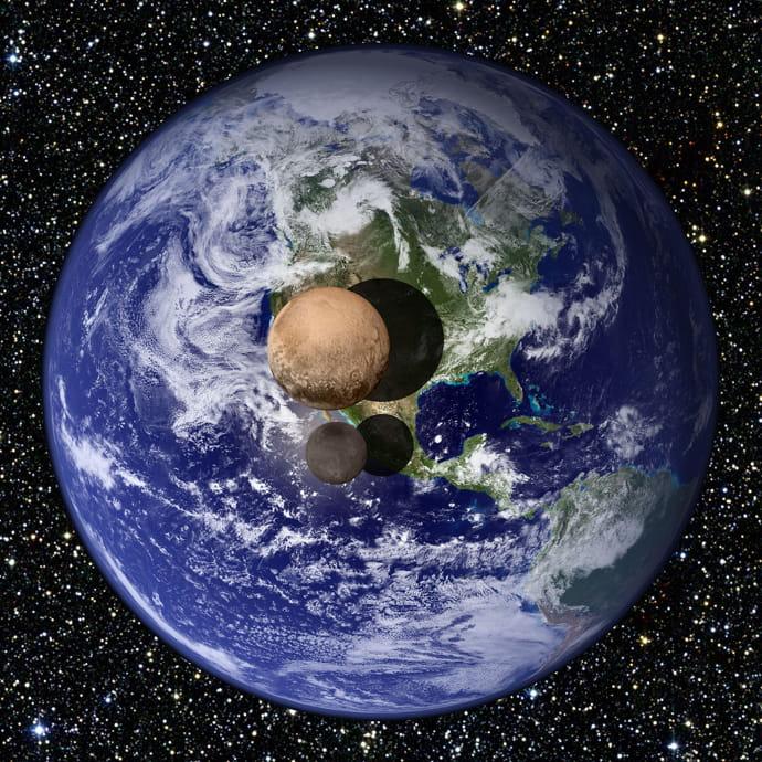 יחסי הגודל של כדור הארץ, פלוטו וירחו, כארון