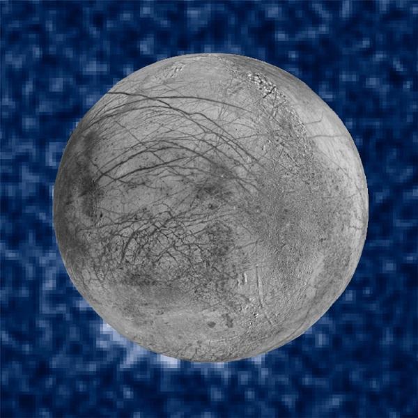 סילוני המים מעל פני השטח של הירח של צדק, אירופה