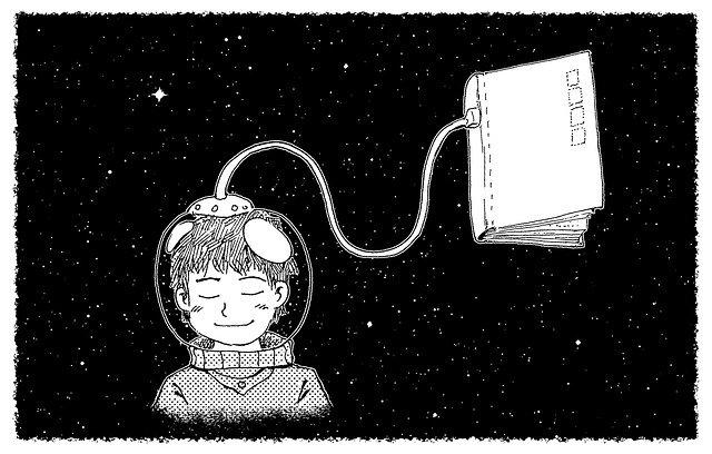 אסטרונאוט ילד מחובר לחמצן שבספרים
