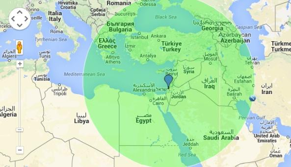 """רדיוס של 1600 ק""""מ מישראל"""